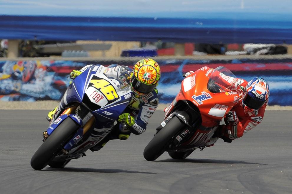 Rossi Stoner Yamaha Ducati Laguna Seca 2008 motogp gp sacacorchos