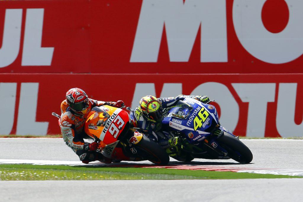 Marc Marquez Valentino Rossi Assen chicane 2015 incidente