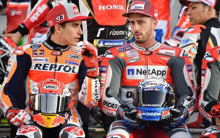 Marc Marquez (SPA) Andrea Dovizioso (ITA) MotoGP GP Qatar 2018 (Circuit Losail) 16-18.03.2018 photo: Michelin