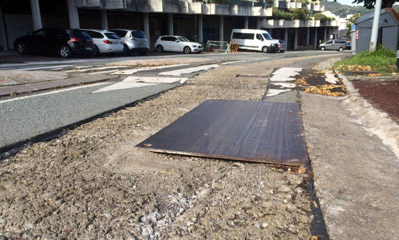 Zona de obras sin medidas de seguridad en Donostia