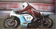 Palomo con la Yamaha 750 con la que ganaría el trofeo FIM de 1976