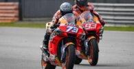 Álex Márquez y Marc Márquez durante los últimos test de pretemporada de MotoGP