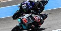 Maverick Viñales y Fabio Quartararo durnate la carrera de MotoGP del Gran Premio de Andalucía de MotoGP