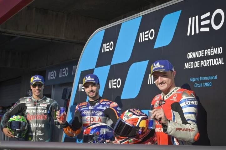 Franco Morbidelli, Jack Miller y Miguel Oliveira