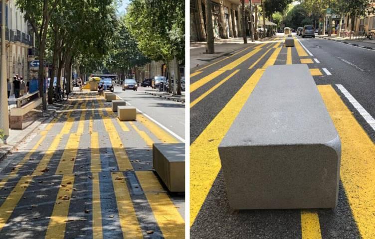 Dos imágenes de bloques de hormigón en las calles de Barcelona