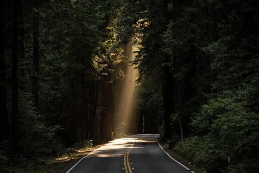 Una carretera iluminada por un rayo de luz